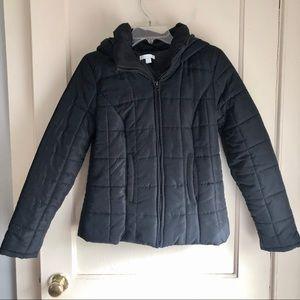 New York & Company Black Puffer Hooded Jacket